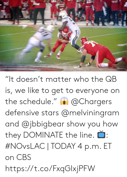 """Defensive: """"It doesn't matter who the QB is, we like to get to everyone on the schedule."""" 😱  @Chargers defensive stars @melviningram and @jbbigbear show you how they DOMINATE the line.   📺: #NOvsLAC   TODAY 4 p.m. ET on CBS https://t.co/FxqGIxjPFW"""