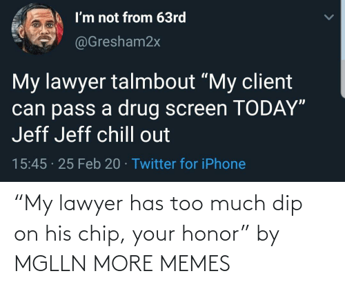 "Too Much: ""My lawyer has too much dip on his chip, your honor"" by MGLLN MORE MEMES"
