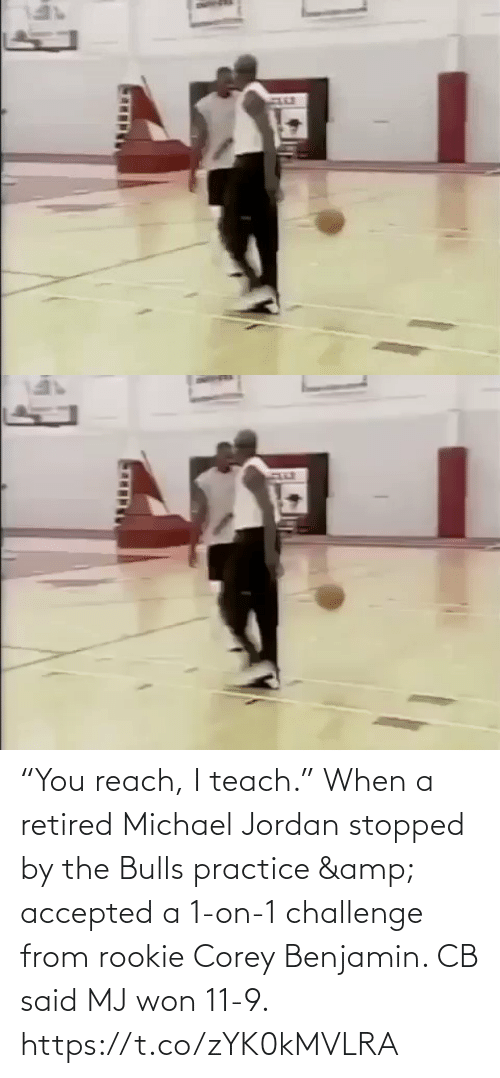 "Jordan: ""You reach, I teach.""  When a retired Michael Jordan stopped by the Bulls practice & accepted a 1-on-1 challenge from rookie Corey Benjamin. CB said MJ won 11-9.   https://t.co/zYK0kMVLRA"