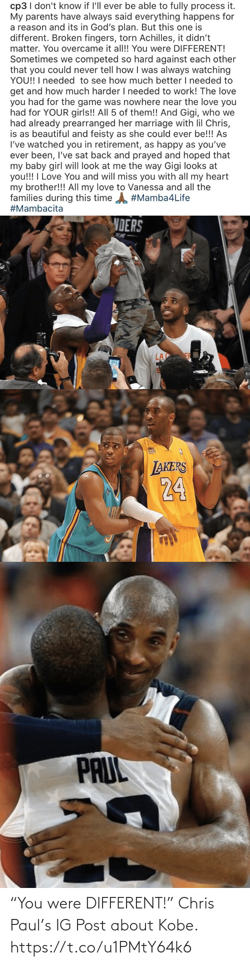 """Chris Paul: """"You were DIFFERENT!""""  Chris Paul's IG Post about Kobe. https://t.co/u1PMtY64k6"""