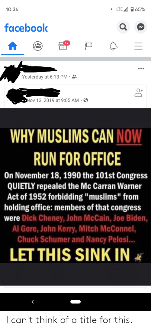 """John McCain: • LTE A  1 65%  10:36  facebook  17  Yesterday at 6:13 PM • 3  Nov 13, 2019 at 9:05 AM  WHY MUSLIMS CAN NOW  RUN FOR OFFICE  On November 18, 1990 the 101st Congress  QUIETLY repealed the Mc Carran Warner  Act of 1952 forbidding """"muslims"""" from  holding office: members of that congress  were Dick Cheney, John McCain, Joe Biden,  AI Gore, John Kerry, Mitch McConnel,  Chuck Schumer and Nancy Pelosi...  LET THIS SINK IN * I can't think of a title for this."""