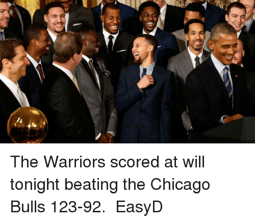 Basketball, Chicago Bulls, and Golden State Warriors: ‪The Warriors scored at will tonight beating the Chicago Bulls 123-92. ‬ EasyD
