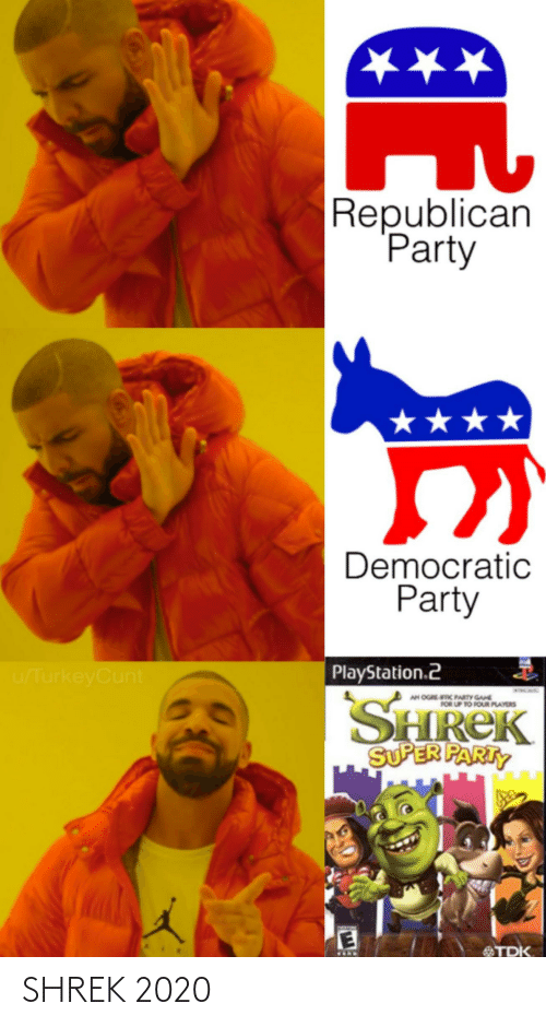 Democratic Party: ★★★  Republican  Party  ★★★  Democratic  Party  PlayStation.2  u/TurkeyCunt  SHREK  SUPER PARTY  AN OGREC PARTY GANE  FOR UP TO FOUR PLAYERS  MNIN  TDK SHREK 2020