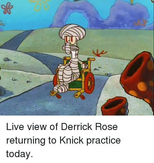 Derrick Rose, Memes, and 🤖: 】I Live view of Derrick Rose returning to Knick practice today.