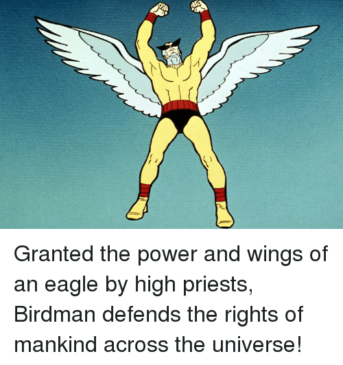 Birdman, Memes, and Eagle: グ Granted the power and wings of an eagle by high priests, Birdman defends the rights of mankind across the universe!