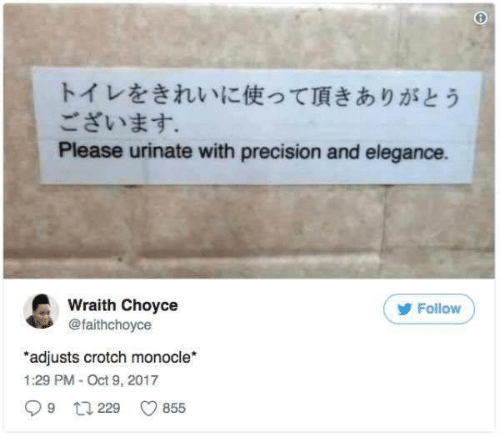 precision: トイレをきれいに使って頂きありがとう  ございます。  Please urinate with precision and elegance.  Wraith Choyce  @faithchoyce  Follow  adjusts crotch monocle*  1:29 PM- Oct 9, 2017  9 t229  855
