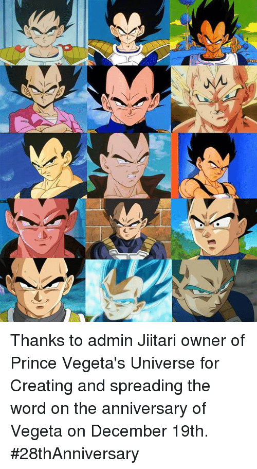 Memes, Prince, and Vegeta: 乀 Thanks to admin Jiitari owner of Prince Vegeta's Universe for Creating and spreading the word on the anniversary of Vegeta on December 19th.  #28thAnniversary