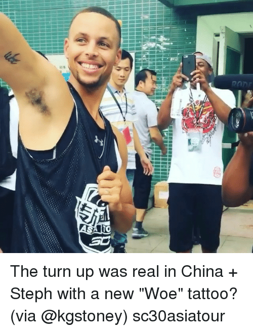 As k the turn up was real in china steph with a new for Steph curry new tattoo