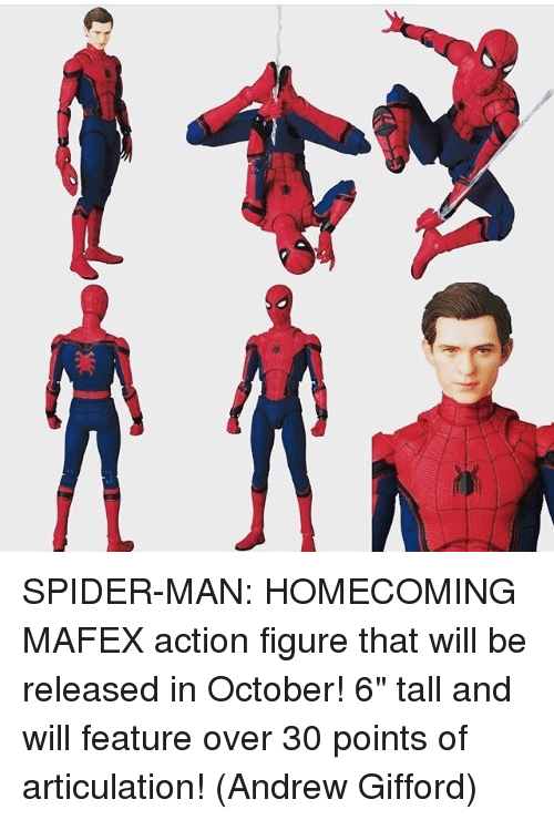 "Memes, Action Figures, and 🤖: 以 SPIDER-MAN: HOMECOMING MAFEX action figure that will be released in October! 6"" tall and will feature over 30 points of articulation!   (Andrew Gifford)"