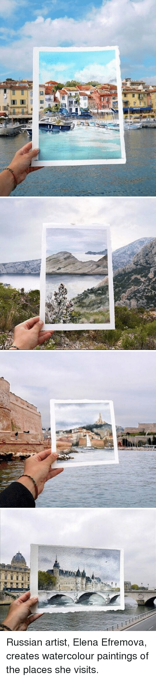 Russian: 加W.l attzA  ill  da   A   illisall-te   (H  卩 il11111aii  リ Russian artist, Elena Efremova, creates watercolour paintings of the places she visits.
