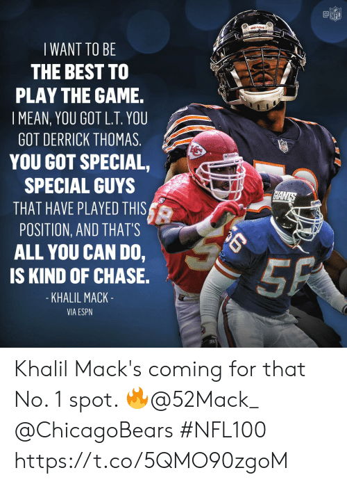 play the game: @叩  NFL  WANT TO BE  THE BEST TO  PLAY THE GAME.  I MEAN, YOU GOT L.T. YOU  GOT DERRICK THOMAS  YOU GOT SPECIAL,  SPECIAL GUYS  THAT HAVE PLAYED THIS  POSITION, AND THATS  ALL YOU CAN DO,  IS KIND OF CHASE.  KHALIL MACK  VIA ESPN Khalil Mack's coming for that No. 1 spot. 🔥@52Mack_ @ChicagoBears   #NFL100 https://t.co/5QMO90zgoM