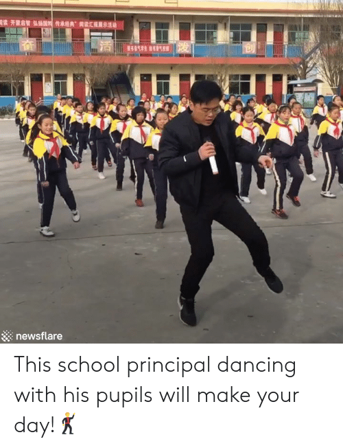 "Principal: 國读开蒙启智弘插国传承经典""读汇理  13  展示活动  414生气 发  newsflare This school principal dancing with his pupils will make your day!🕺"