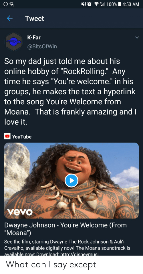 "moana: 埀令"" 100% 14:53 AM  KTweet  K-Far  @BitsOfWin  So my dad just told me about his  online hobby of ""RockRolling."" Any  time he savs ""You're welcome."" in his  groups, he makes the text a hyperlink  to the song You're Welcome from  Moana. That is frankly amazing and  love it  YouTube  yevo  Dwayne Johnson - You're Welcome (From  ""Moana"")  See the film, starring Dwayne The Rock Johnson & Auli'i  Cravalho, available digitally now! The Moana soundtrack is  available now Download htto.//disnevmusi What can I say except"