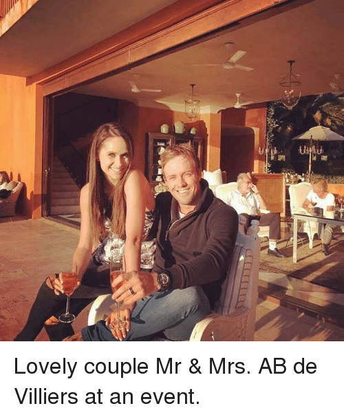 Love, Memes, and 🤖: 屋  IT Lovely couple Mr & Mrs. AB de Villiers at an event.
