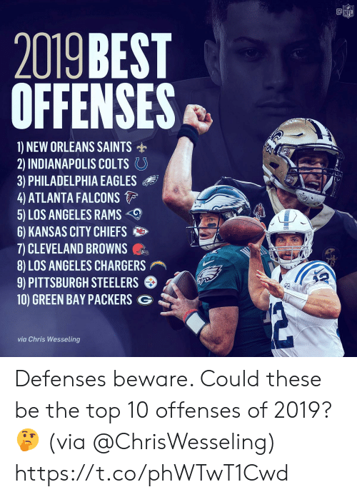 Pittsburgh Steelers: @竈  NF  2019 BEST  OFFENSES  1) NEW ORLEANS SAINTS  2) INDIANAPOLIS COLTS。  3) PHILADELPHIA EAGLES  4 ATLANTA FALCONS  5) LOS ANGELES RAMS  6) KANSAS CITY CHIEFS  7) CLEVELAND BROWNS  8) LOS ANGELES CHARGERS  9) PITTSBURGH STEELERS  10) GREEN BAY PACKERS G  via Chris Wesseling Defenses beware. Could these be the top 10 offenses of 2019? 🤔 (via @ChrisWesseling) https://t.co/phWTwT1Cwd