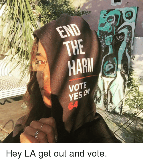 get-out-and-vote: 罕  ,If  END  7  HARMO  YES ON Hey LA get out and vote.