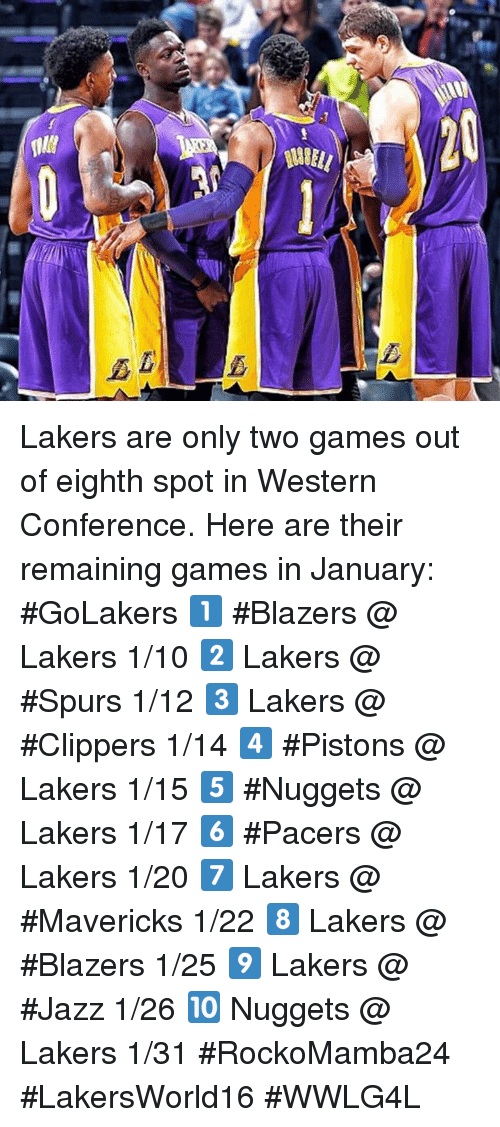 Memes, Clippers, and Pacer: 와 Lakers are only two games out of eighth spot in Western Conference.   Here are their remaining games in January: #GoLakers  1️⃣ #Blazers @ Lakers 1/10 2️⃣ Lakers @ #Spurs 1/12 3️⃣ Lakers @ #Clippers 1/14 4️⃣ #Pistons @ Lakers 1/15 5️⃣ #Nuggets @ Lakers 1/17 6️⃣ #Pacers @ Lakers 1/20 7️⃣ Lakers @ #Mavericks 1/22 8️⃣ Lakers @ #Blazers 1/25 9️⃣ Lakers @ #Jazz 1/26 🔟 Nuggets @ Lakers 1/31  #RockoMamba24 #LakersWorld16 #WWLG4L