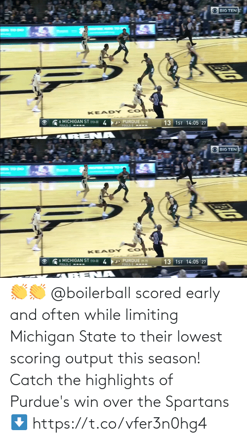 spartans: 👏👏 @boilerball scored early and often while limiting Michigan State to their lowest scoring output this season!  Catch the highlights of Purdue's win over the Spartans ⬇️ https://t.co/vfer3n0hg4