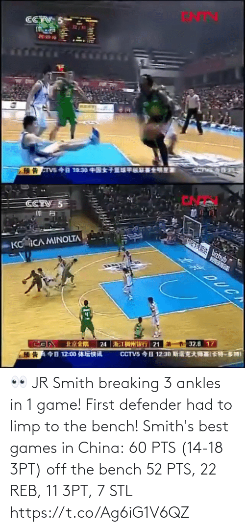stl: 👀 JR Smith breaking 3 ankles in 1 game! First defender had to limp to the bench!   Smith's best games in China: 60 PTS (14-18 3PT) off the bench 52 PTS, 22 REB, 11 3PT, 7 STL https://t.co/Ag6iG1V6QZ