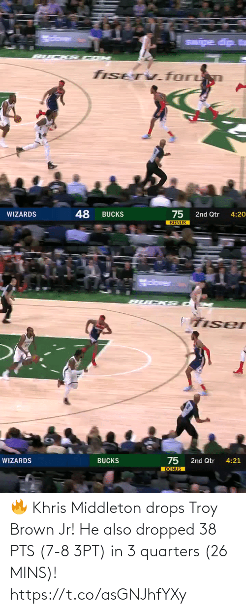 Middleton: 🔥 Khris Middleton drops Troy Brown Jr!   He also dropped 38 PTS (7-8 3PT) in 3 quarters (26 MINS)!   https://t.co/asGNJhfYXy