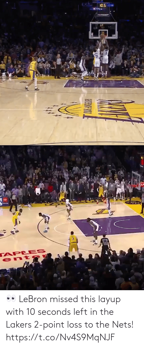 Nets: 👀 LeBron missed this layup with 10 seconds left in the Lakers 2-point loss to the Nets!    https://t.co/Nv4S9MqNJF
