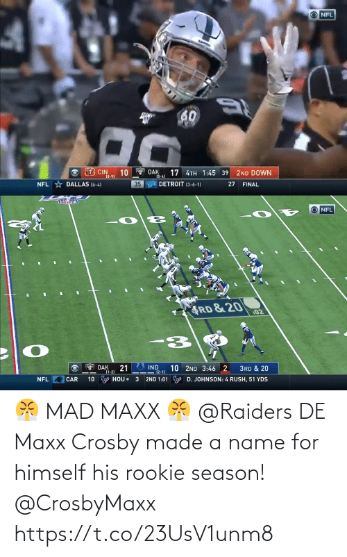 Raiders: 😤 MAD MAXX 😤  @Raiders DE Maxx Crosby made a name for himself his rookie season! @CrosbyMaxx https://t.co/23UsV1unm8