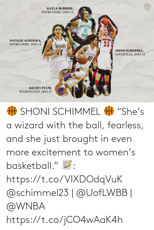"""ball: 🏀 SHONI SCHIMMEL 🏀  """"She's a wizard with the ball, fearless, and she just brought in even more excitement to women's basketball.""""  📝: https://t.co/VIXDOdqVuK  @schimmel23 