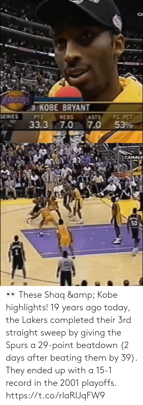 Shaq: 👀 These Shaq & Kobe highlights!   19 years ago today, the Lakers completed their 3rd straight sweep by giving the Spurs a 29-point beatdown (2 days after beating them by 39). They ended up with a 15-1 record in the 2001 playoffs. https://t.co/rlaRlJqFW9