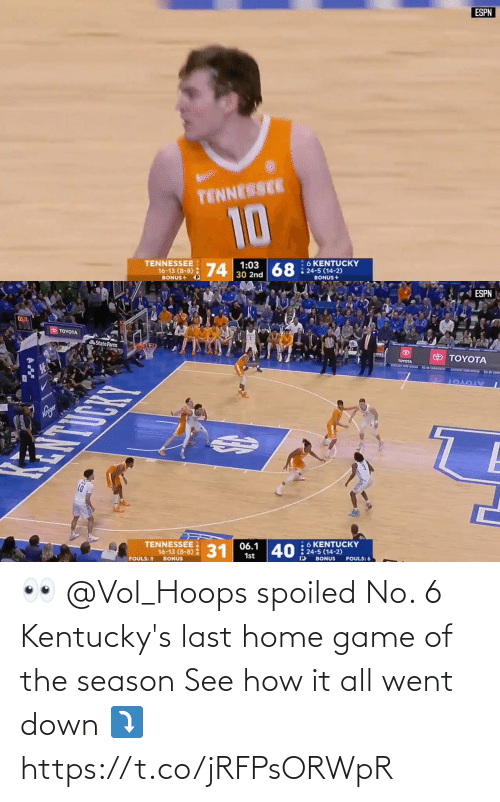 vol: 👀 @Vol_Hoops spoiled No. 6 Kentucky's last home game of the season   See how it all went down ⤵️ https://t.co/jRFPsORWpR