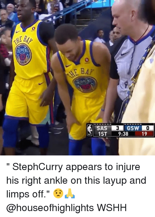 """injure: 0  0  GSW  1ST 9:38  19 """" StephCurry appears to injure his right ankle on this layup and limps off."""" 😧🙏 @houseofhighlights WSHH"""