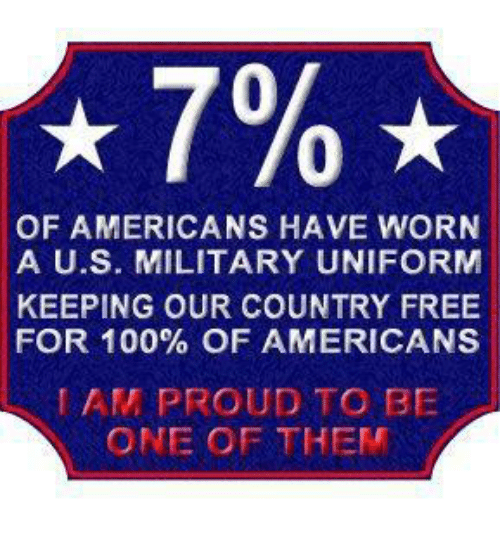 Anaconda, Memes, and Free: 0  0  OF AMERICANS HAVE WORN  A U.S. MILITARY UNIFORM  KEEPING OUR COUNTRY FREE  FOR 100% OF AMERICANS  AM PROUD TO BE  ONE OF THEM