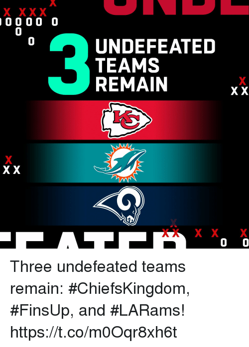 Memes, Undefeated, and 🤖: 0  0  UNDEFEATED  TEAMS  REMAIN  Xx Three undefeated teams remain: #ChiefsKingdom, #FinsUp, and #LARams! https://t.co/m0Oqr8xh6t