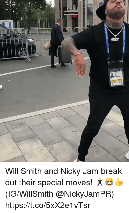 nicky: 0 1 2 3 4 Will Smith and Nicky Jam break out their special moves! 🕺😂👍 (IG/WillSmith @NickyJamPR) https://t.co/5xX2e1vTsr