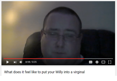Youtube Snapshots: 0:18/0:25  What does it feel like to put your Willy into a virginal  r 1