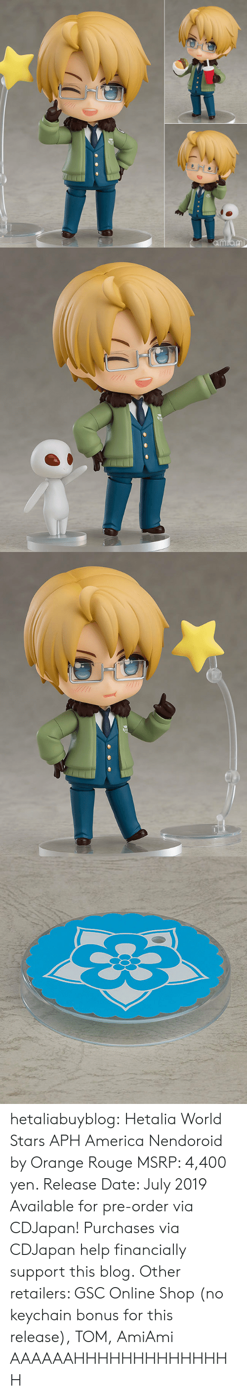 eng: 0  8 hetaliabuyblog: Hetalia World Stars APH America Nendoroid by Orange Rouge MSRP: 4,400 yen. Release Date: July 2019 Available for pre-order via CDJapan! Purchases via CDJapan help financially support this blog. Other retailers: GSC Online Shop (no keychain bonus for this release), TOM, AmiAmi   AAAAAAHHHHHHHHHHHHHH