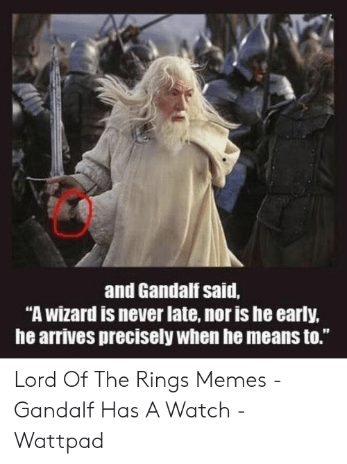 """Funny Lord Of The Rings: 0  and Gandalf said,  """"A wizard is never late, nor is he early,  he arrives precisely when he means to.""""  91 Lord Of The Rings Memes - Gandalf Has A Watch - Wattpad"""