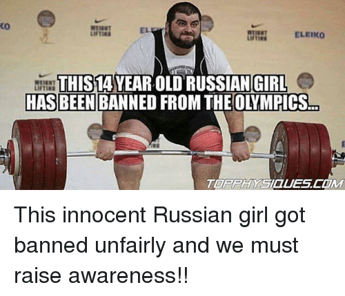 Russian Girl: 0  ELEIKO  THIS 1A  YEAR OLD RUSSIAN GIRL  HAS BEEN This innocent Russian girl got banned unfairly and we must raise awareness!!