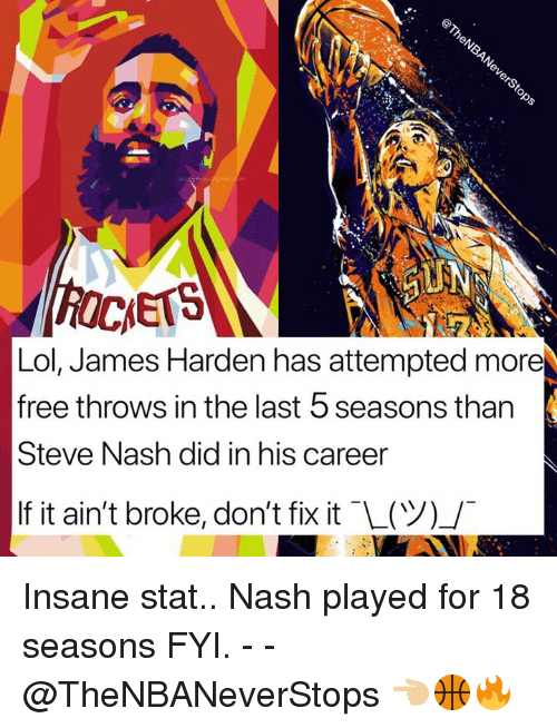 James Harden, Lol, and Free: 0  Lol, James Harden has attempted more  free throws in the last 5 seasons than  Steve Nash did in his career  If it ain't broke, don't fix it (ツ」 Insane stat.. Nash played for 18 seasons FYI. - - @TheNBANeverStops 👈🏼🏀🔥