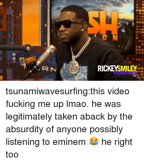 taken aback: 0 N  RICKEYSMILEY tsunamiwavesurfing:this video fucking me up lmao. he was legitimately taken aback by the absurdity of anyone possibly listening to eminem😂 he right too