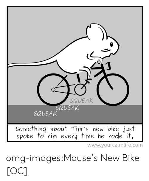 mouses: 0  SQUEAK  QUEAK  SQUEAK  Something about Tim's new bike just  spoke to him every time he rode it.  www.yourcalmlif'e.com omg-images:Mouse's New Bike [OC]