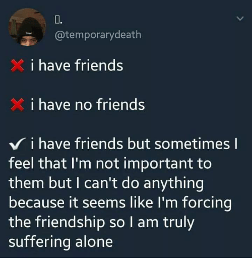 i have no friends: 0.  @temporarydeath  i have friends  i have no friends  V i have friends but sometimes l  feel that I'm not important to  them but I can't do anything  because it seems like I'm forcing  the friendship so I am truly  suffering alone