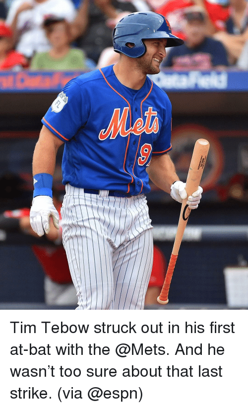 Tebowing: 0 Tim Tebow struck out in his first at-bat with the @Mets. And he wasn't too sure about that last strike. (via @espn)