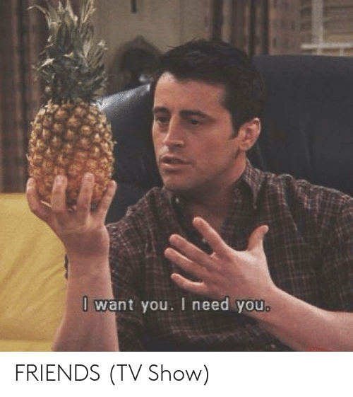 friends tv: 0 want you. I need you. FRIENDS (TV Show)