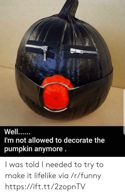 I Was Told: 0  Well...  I'm not allowed to decorate the  pumpkin anymore. I was told I needed to try to make it lifelike via /r/funny https://ift.tt/2zopnTV