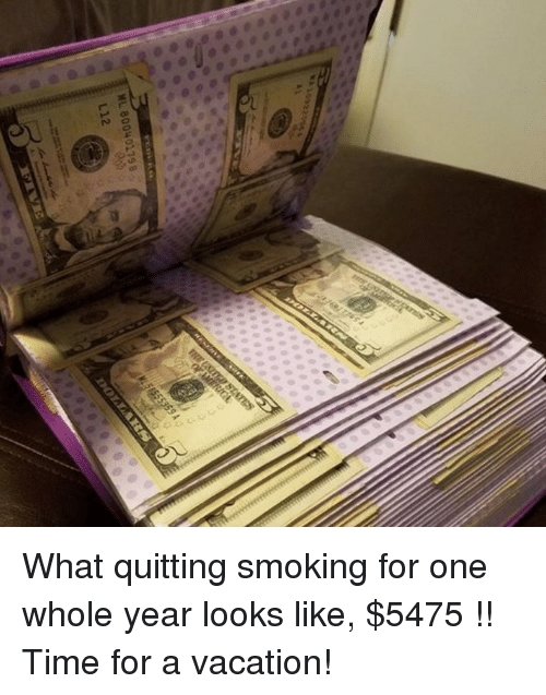 Funny and Sad: 000 00000  Di:nen.  ML 80040179 B  L12 What quitting smoking for one whole year looks like, $5475 !! Time for a vacation!