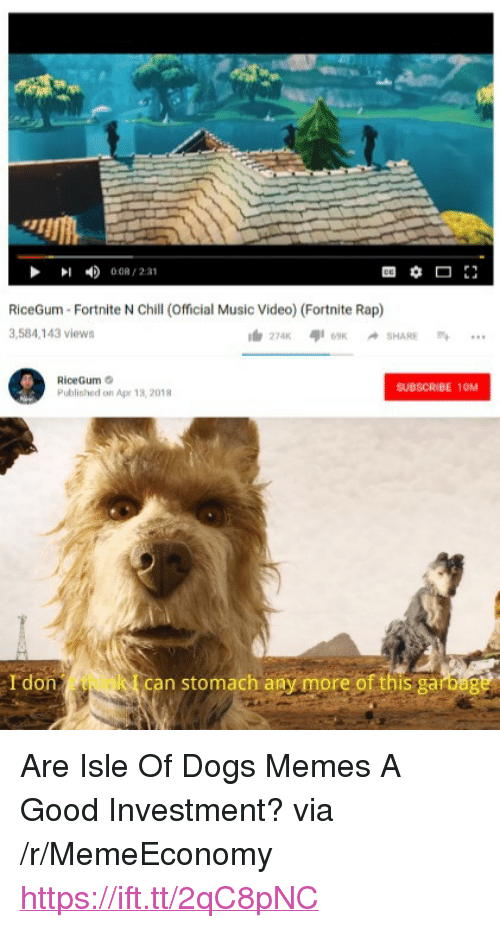 """Chill, Dogs, and Memes: 008/231  RiceGum Fortnite N Chill (Official Music Video) (Fortnite Rap)  3,584,143 views  RiceGum  Published on Apr 13, 2018  SUBSCRIBE 10M  Idon  can stomach any more of this garbag <p>Are Isle Of Dogs Memes A Good Investment? via /r/MemeEconomy <a href=""""https://ift.tt/2qC8pNC"""">https://ift.tt/2qC8pNC</a></p>"""