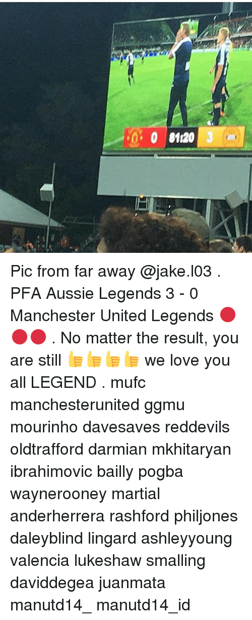 Memes, 🤖, and Legend: 0120  0 Pic from far away @jake.l03 . PFA Aussie Legends 3 - 0 Manchester United Legends 🔴🔴🔴 . No matter the result, you are still 👍👍👍👍 we love you all LEGEND . mufc manchesterunited ggmu mourinho davesaves reddevils oldtrafford darmian mkhitaryan ibrahimovic bailly pogba waynerooney martial anderherrera rashford philjones daleyblind lingard ashleyyoung valencia lukeshaw smalling daviddegea juanmata manutd14_ manutd14_id