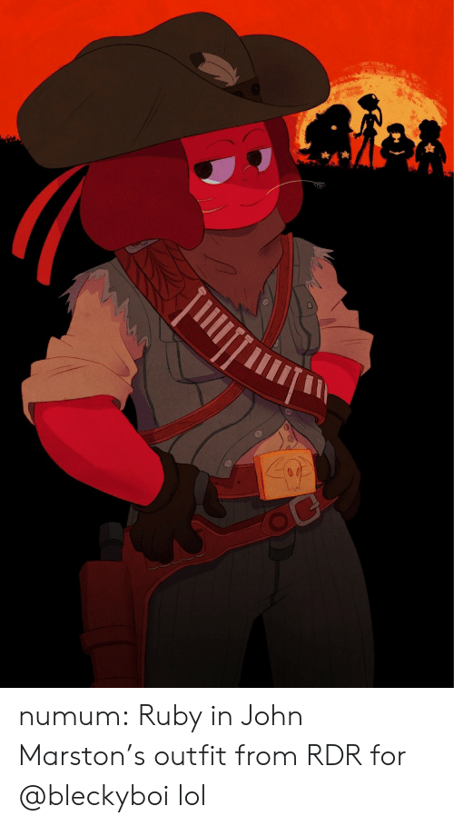 ruby: 04 numum:  Ruby in John Marston's outfit from RDR for @bleckyboi lol