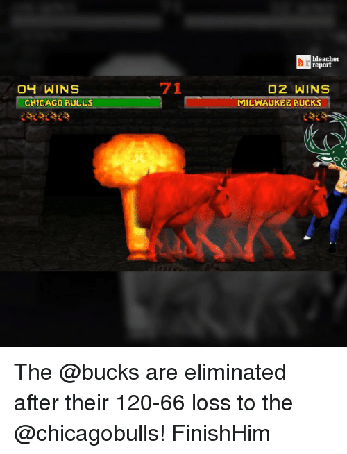 Chicago, Chicago Bulls, and Milwaukee Bucks: 04 WINS  CHICAGO BULLS  71  bleacher  report  O2 WINS  MILWAUKEE BUCKS The @bucks are eliminated after their 120-66 loss to the @chicagobulls! FinishHim