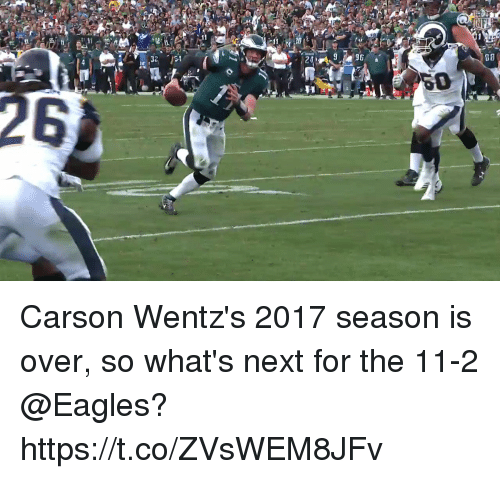 Philadelphia Eagles, Memes, and 🤖: 08  0  26 Carson Wentz's 2017 season is over, so what's next for the 11-2 @Eagles? https://t.co/ZVsWEM8JFv
